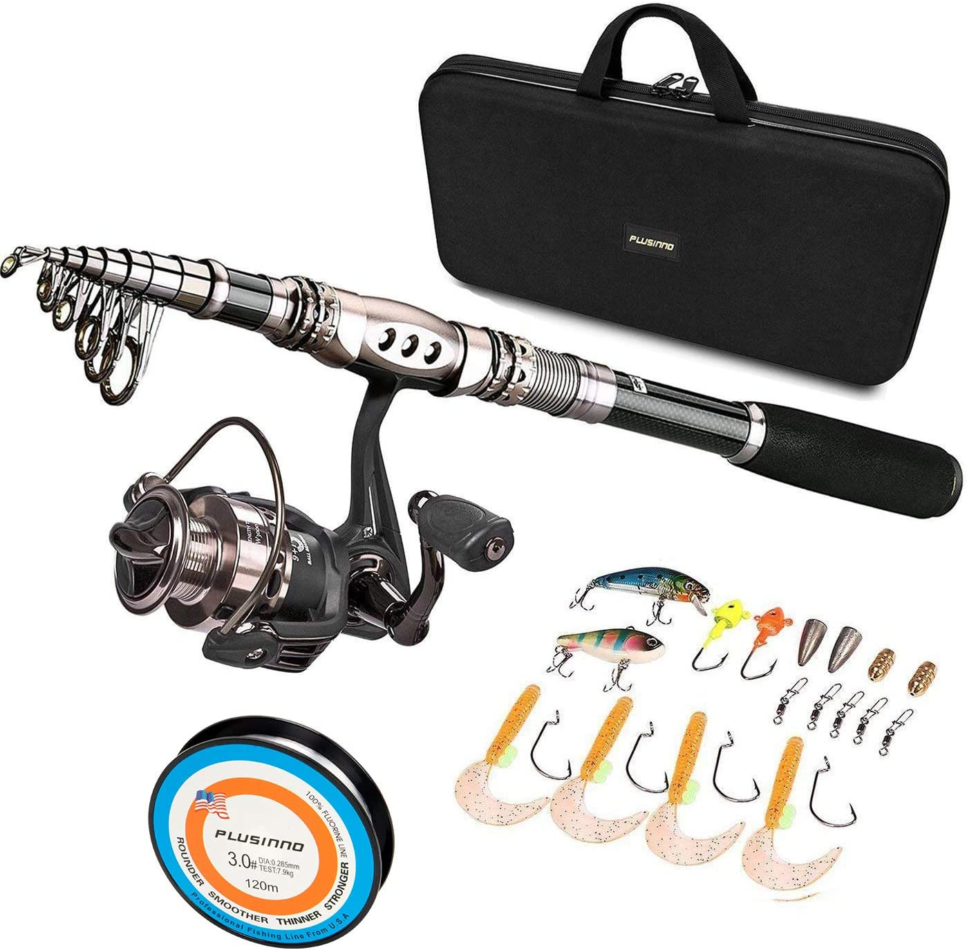 PLUSINNO® Spinning Rod and Reel Combos FULL KIT Telescopic Fishing Rod Pole with Reel Line Lures Hooks Fishing Carrier Bag Case and Accessories