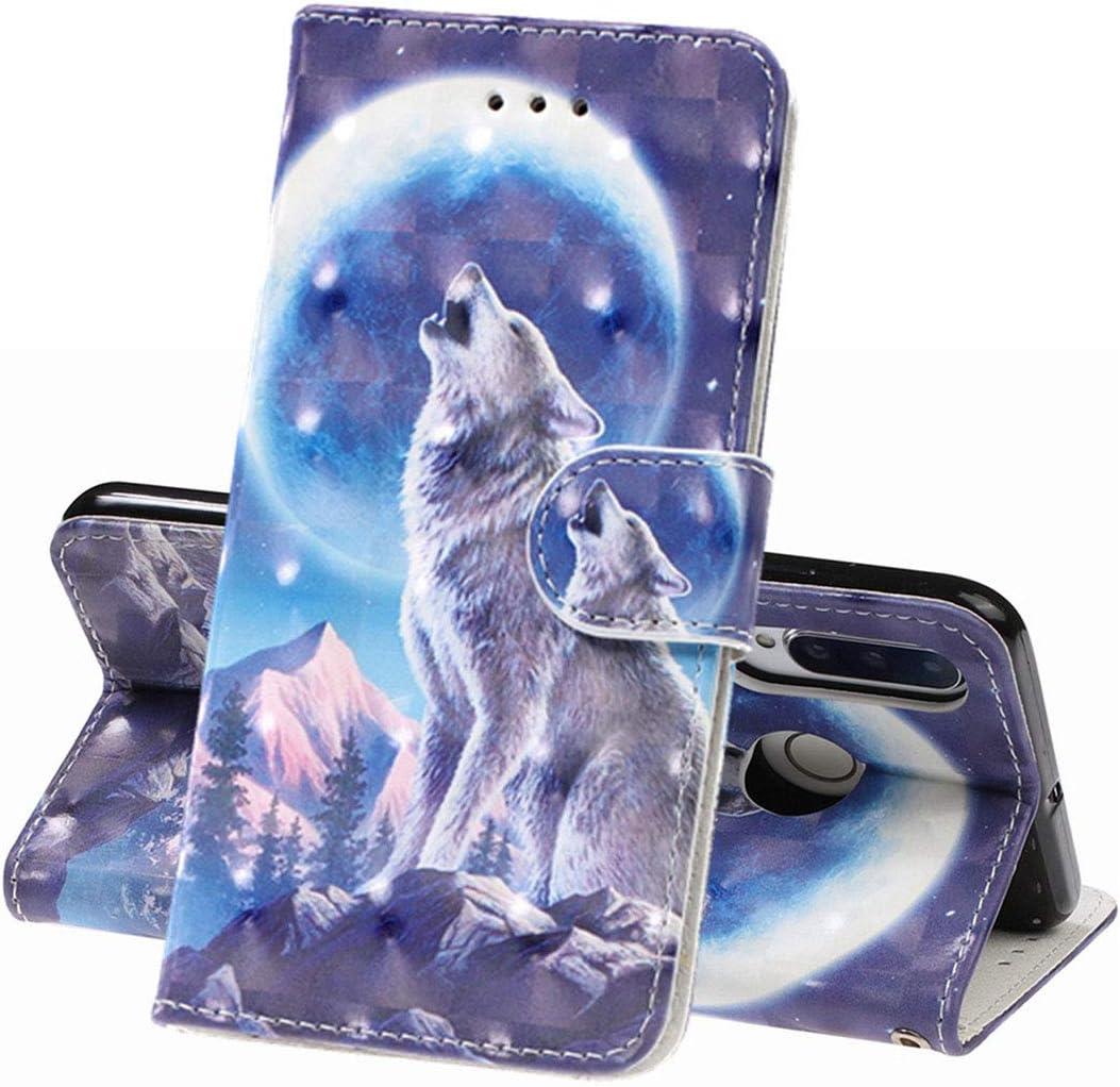 Mikikit Estuche para Huawei P30 Lite/Nova 4e, Funda de Cuero con Hebilla Lateral, Funda de Negocios, Funda con Soporte, Funda para Huawei P30 Lite/Nova 4e (Snow Wolf)