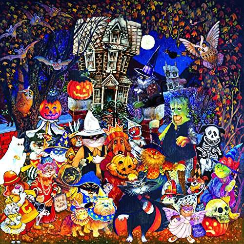 Cats and Dogs on Halloween 500 pc Jigsaw Puzzle by SunsOut