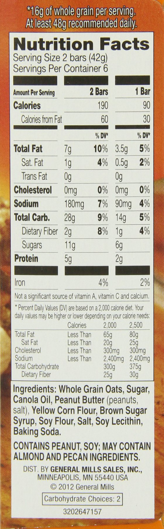 Nature Valley Granola Bars, Crunchy, Peanut Butter, 6 Pouches - 1.49 oz, 2-Bars Per Pouch (Pack of 6) by Nature Valley (Image #2)