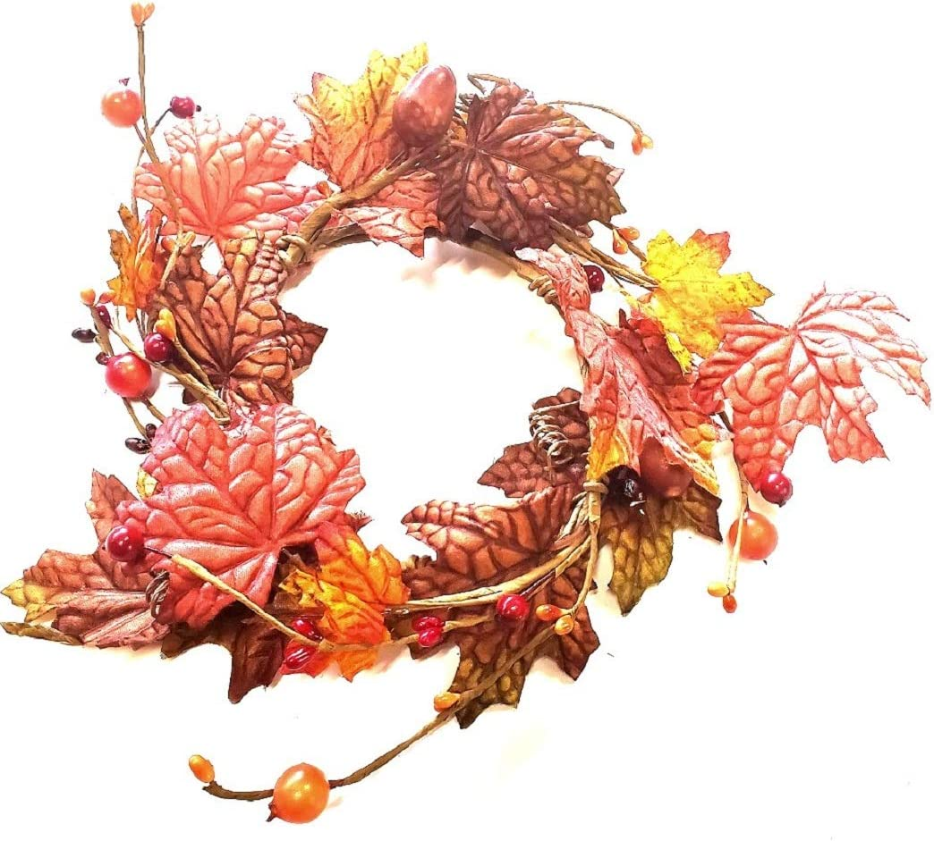 """MerdCraft Fall Floral Decrative Candle Ring - Perfect for Autumn Decor - Articial Maple Leaves and Orange, Brown, Yellow Colors 4.5"""" Candle Ring"""