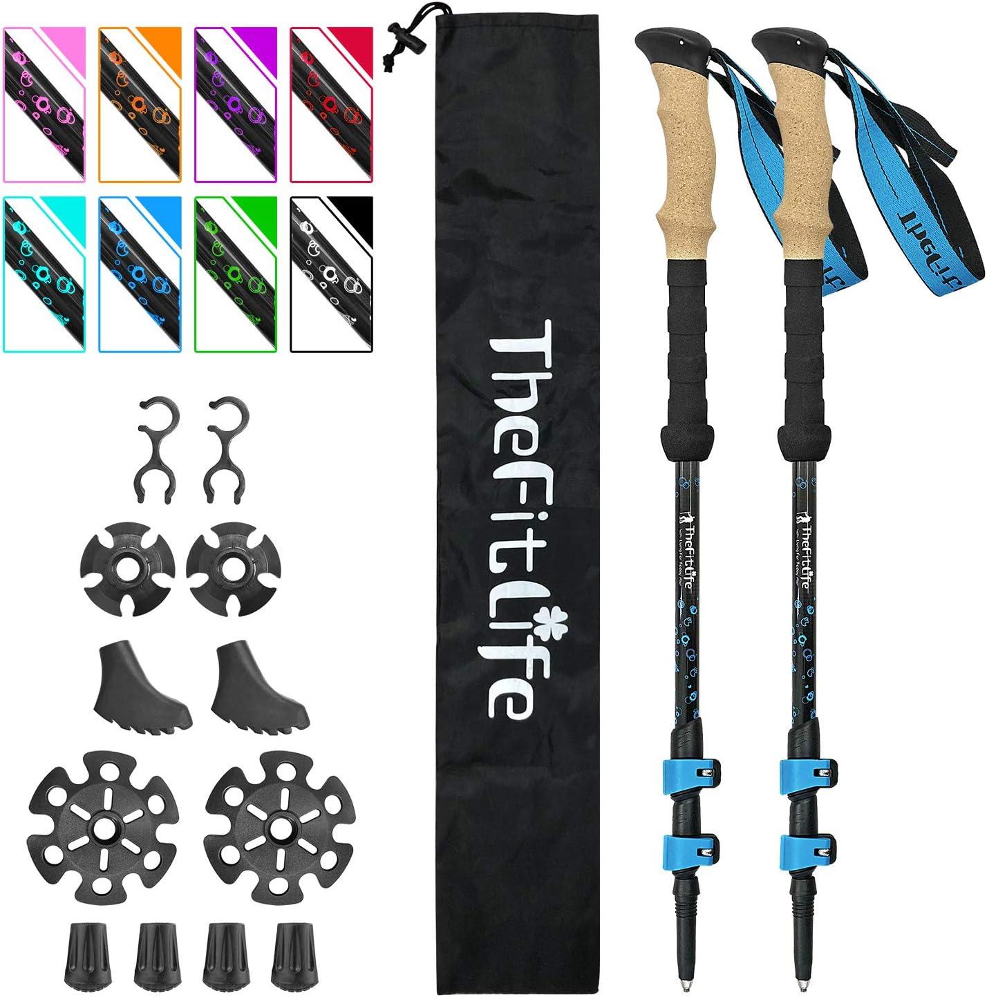 1//2Pcs Carbon Fiber Trekking Pole Walking Hiking Stick Adjustable Cane 55-125cm