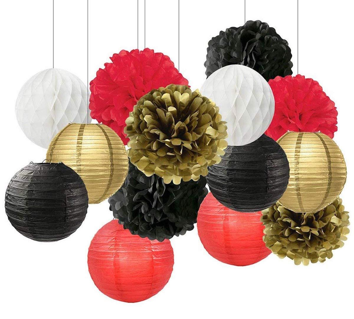 Black White Red Gold Tissue Paper Pom Pom Paper Flower Ball Decoration Paper Lantern Tissue Ball Paper Decoration For Baby Shower Nursery Decor