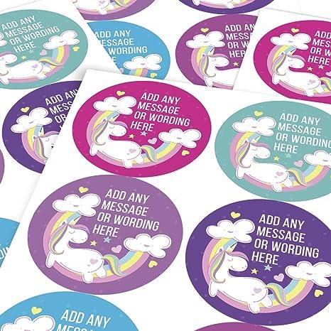 Children Parents Reward Sticker Labels Graphic Flavour Sweet Unicorn Rainbow Personalised 6 Stickers @ 9.5cm Teachers