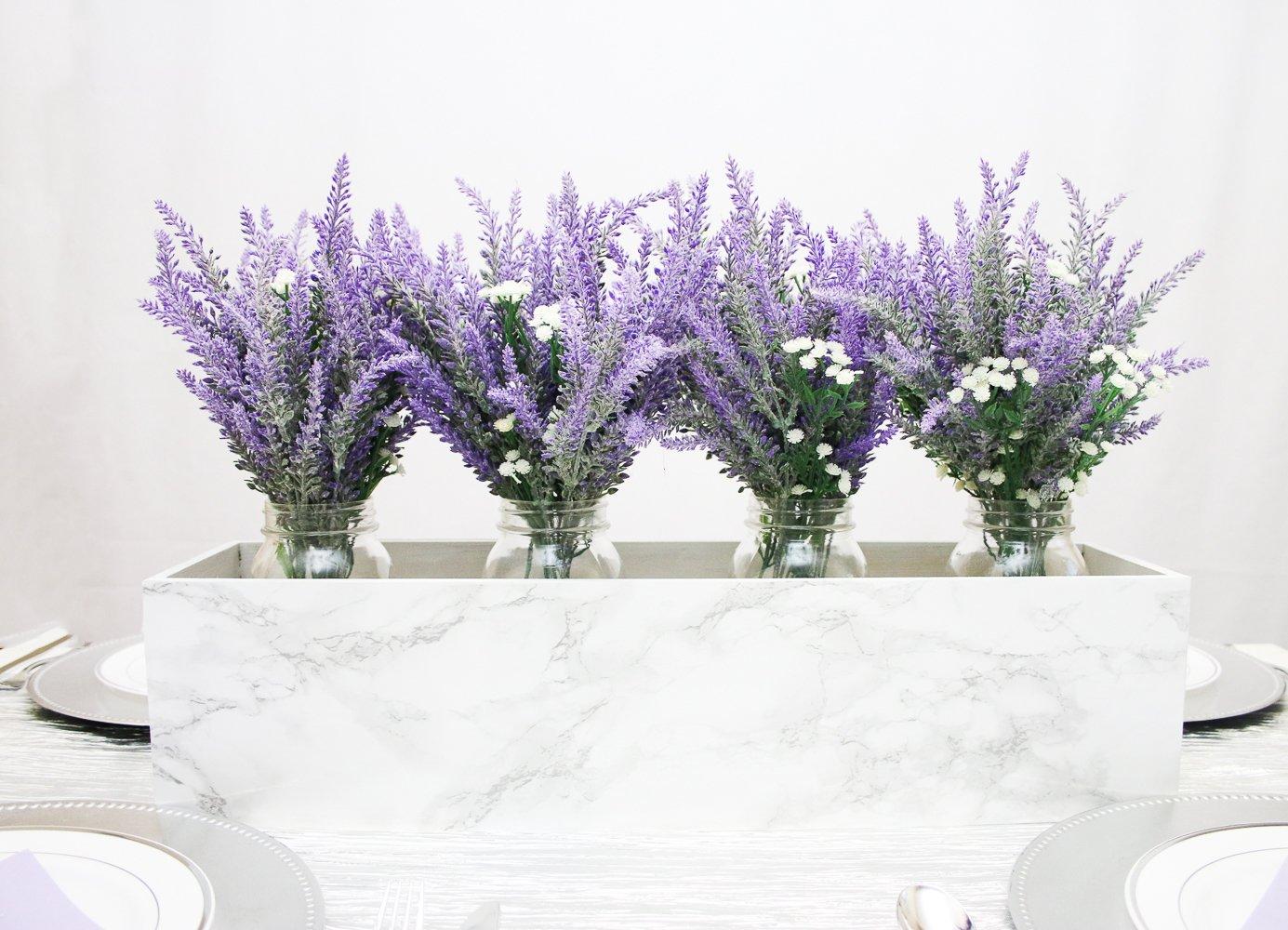 Amazon.com: DearHouse 5 Bundles Artificial Flower Lavender Bouquet ...