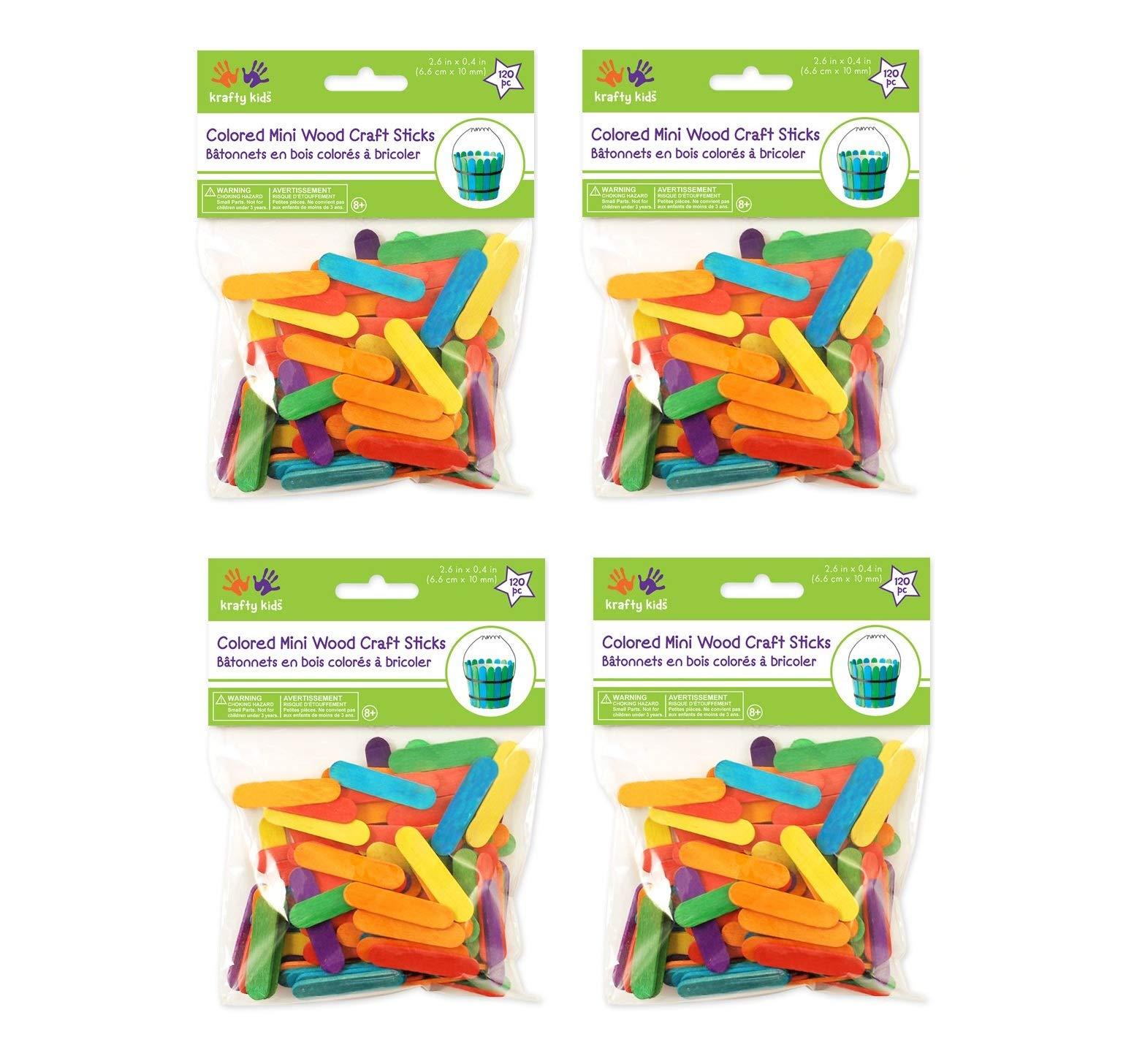 Mini Craft Sticks-Colored 1.5'' 120/Pkg (Вundlе оf Fоur)