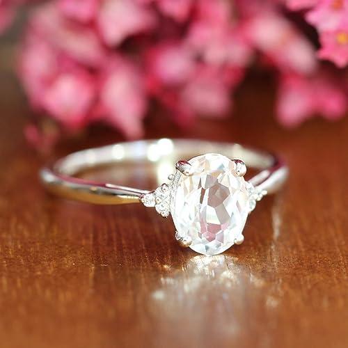 Amazoncom White Sapphire Engagement Ring in 10k White Gold 3 Stone