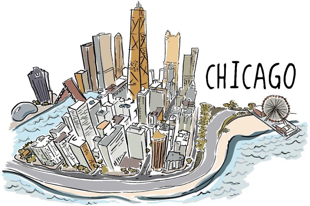 シカゴ、イリノイ州 – シカゴ都市景観 – Line図面 9 x 12 Art Print LANT-56521-9x12 B01B03U5LE 9 x 12 Art Print9 x 12 Art Print