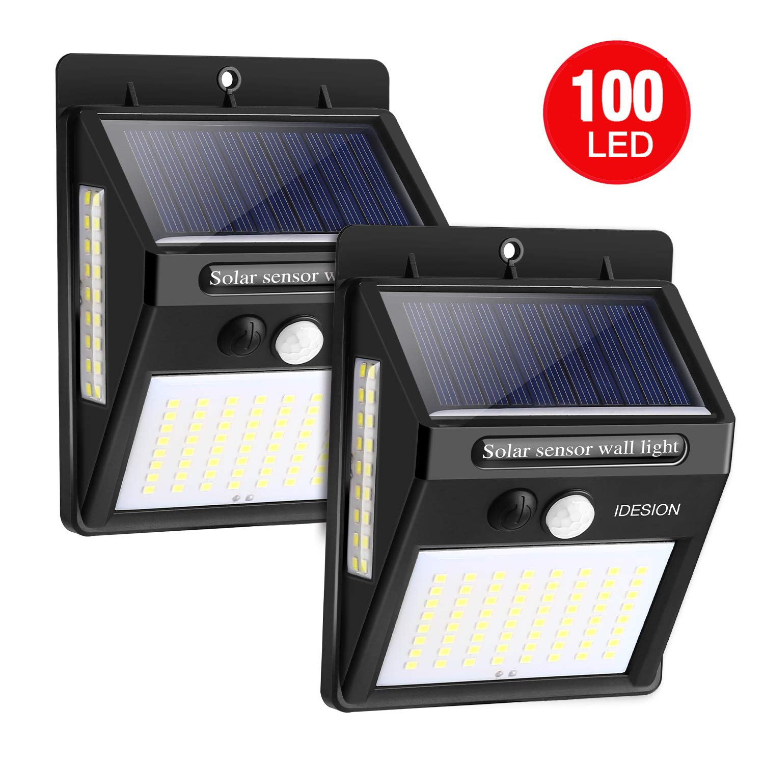 Solar Motion Sensor Light IDESION 100 LED Outdoor 3 Modes 270°Wide Angle Waterproof Solar Powered Security Night Light for Garden Fence Deck Patio Garage Yard 2 Pack by IDESION