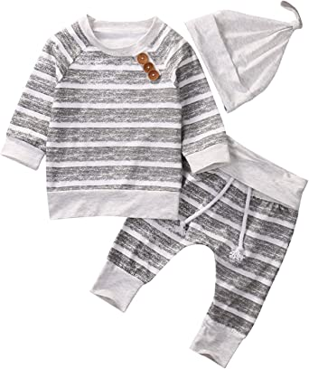 US 3PCS Infant Baby Girl Boy Winter Clothes Tops T-Shirt Pants Cotton Outfit Set