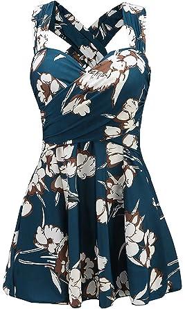 2df05c8163 LuDaDa Women s Floral Print Criss Cross Swim Dress Swimsuit Swimwear ...
