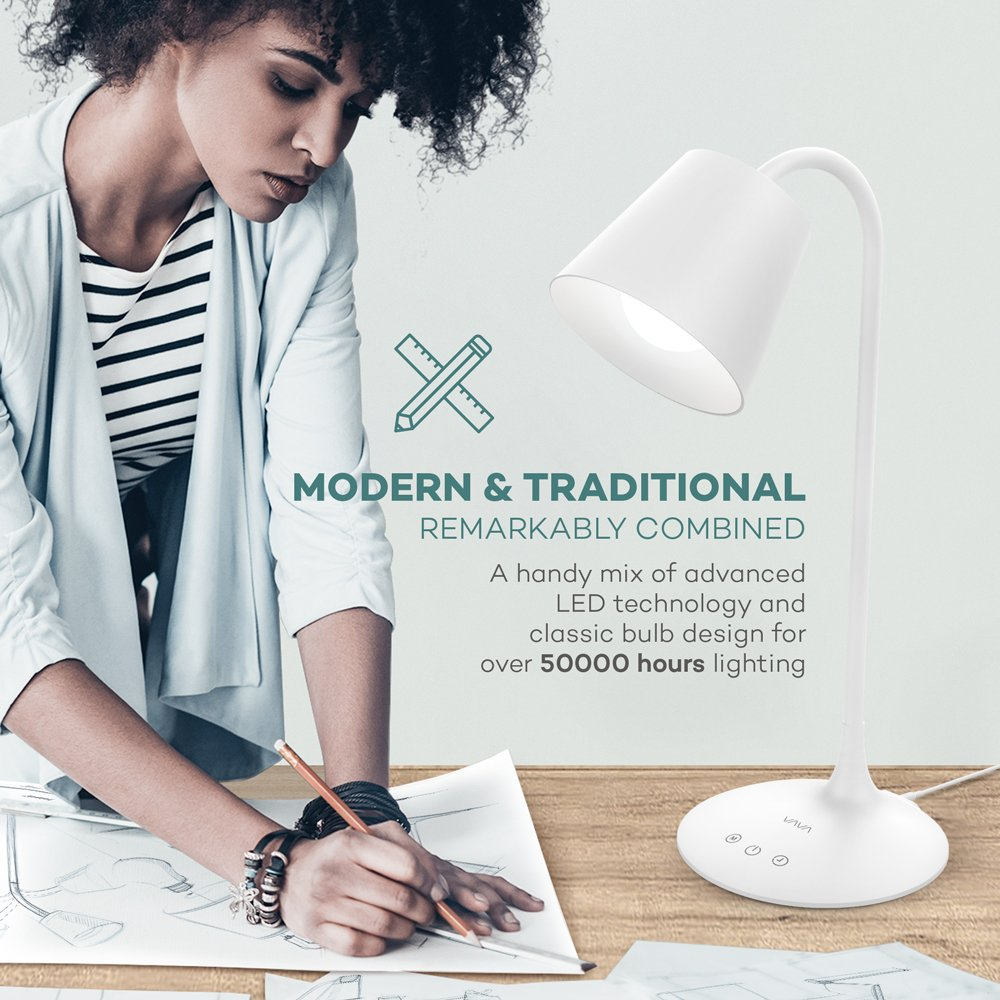 VAVA VA-DL29 LED Desk Lamp for Office Home Lighting, 3 Color Modes with Gradual Dimming, 1 Hour Timer Touch Control, Memory Function, Official Member of Philips Enabled Licensing Program by VAVA (Image #2)
