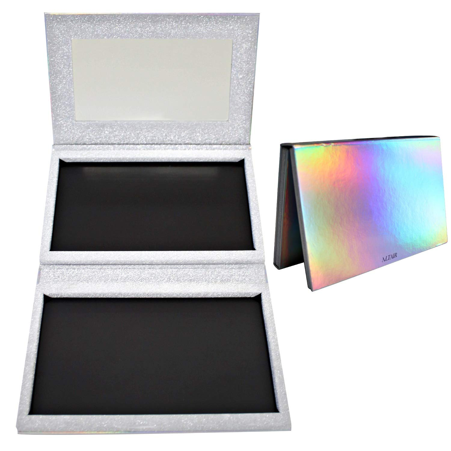 Holographic XL - 56 Pan Empty Magnetic Makeup Palette with Mirror Set for Depotting with 10pcs Metal Stickers. Silver Glitter Extra Large Magnetic Palette for Eyeshadow, Blush, Bronzer and Highlighter