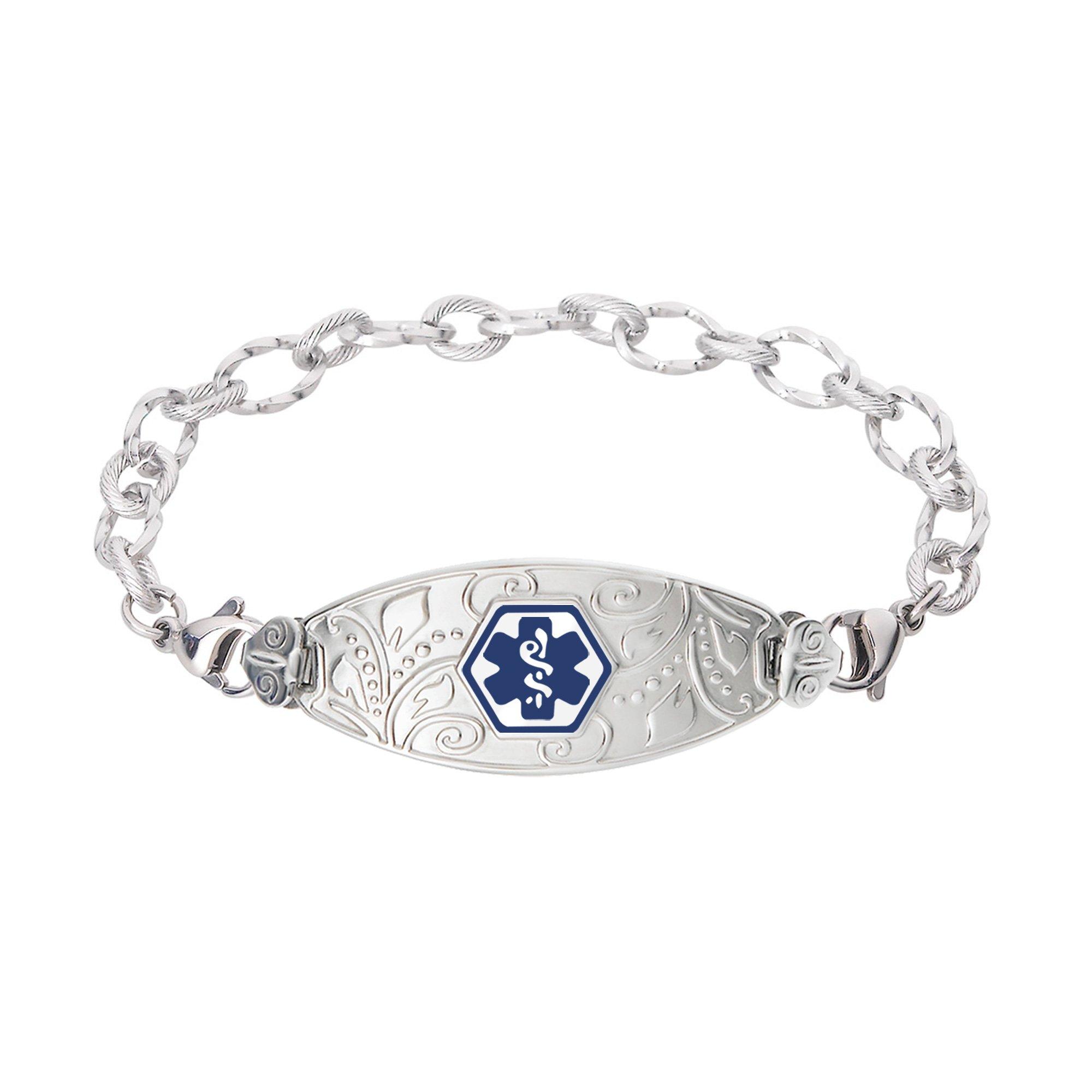Divoti Custom Engraved Lovely Filigree Medical Alert Bracelet -Ridged Stainless -Deep Blue-7.0''