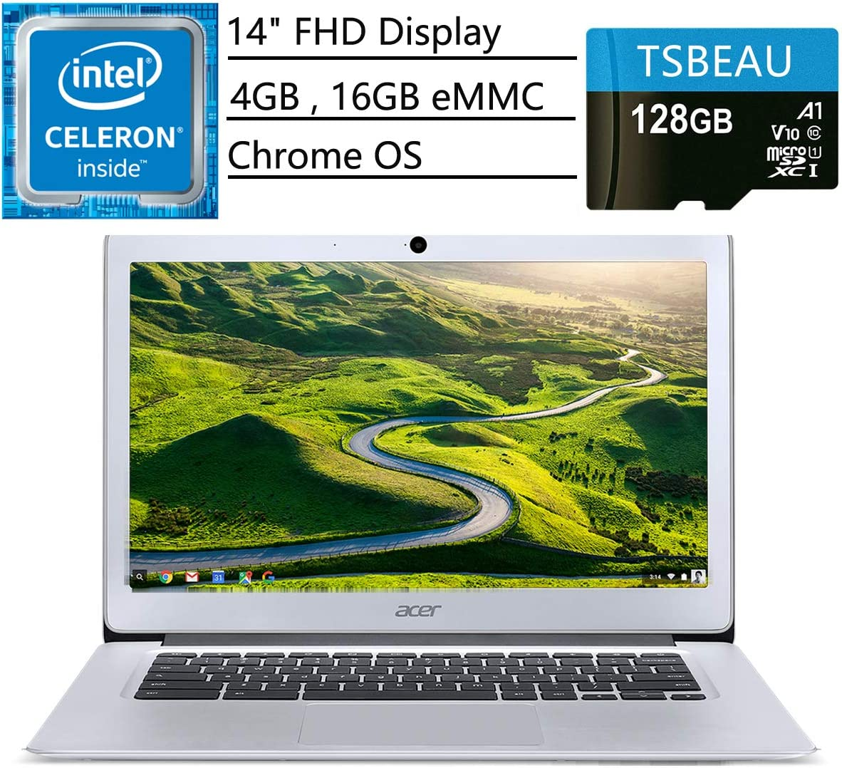 "Acer Chromebook 14 Laptop, 14"" Full HD IPS Display, Intel Celeron N3160 Quad-Core Processor 4GB 16GB eMMC, Chrome OS, Bundled with TSBEAU 128GB Micro SD Card"