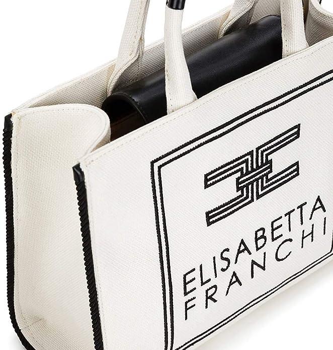 Elisabetta Franchi Borsa Donna canvas con logo Avorio BS02A01E2309
