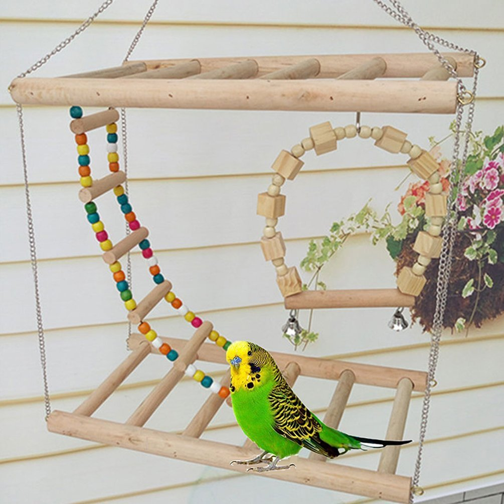 Bird Wood Double Perch Ladder Bendable Ladder and Swing Perch Sets Toys for Bird Parrot Macaw African Greys Budgies Parakeet Cockatiel Cockatoo Conure Lovebird Finch Perch (A: 7.87in3.93in7.87in) by Peety (Image #3)
