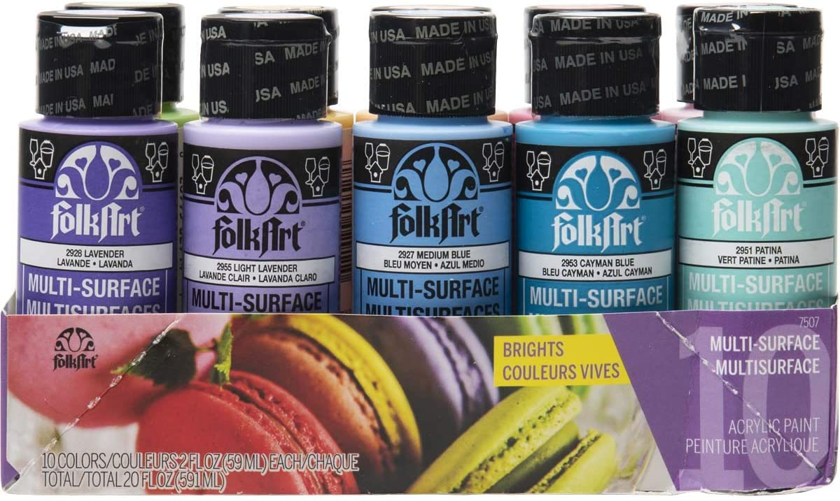 FolkArt 7507 Color, 10 Bottle Multi-Surface Acrylic Paint Set, 2oz, Brights