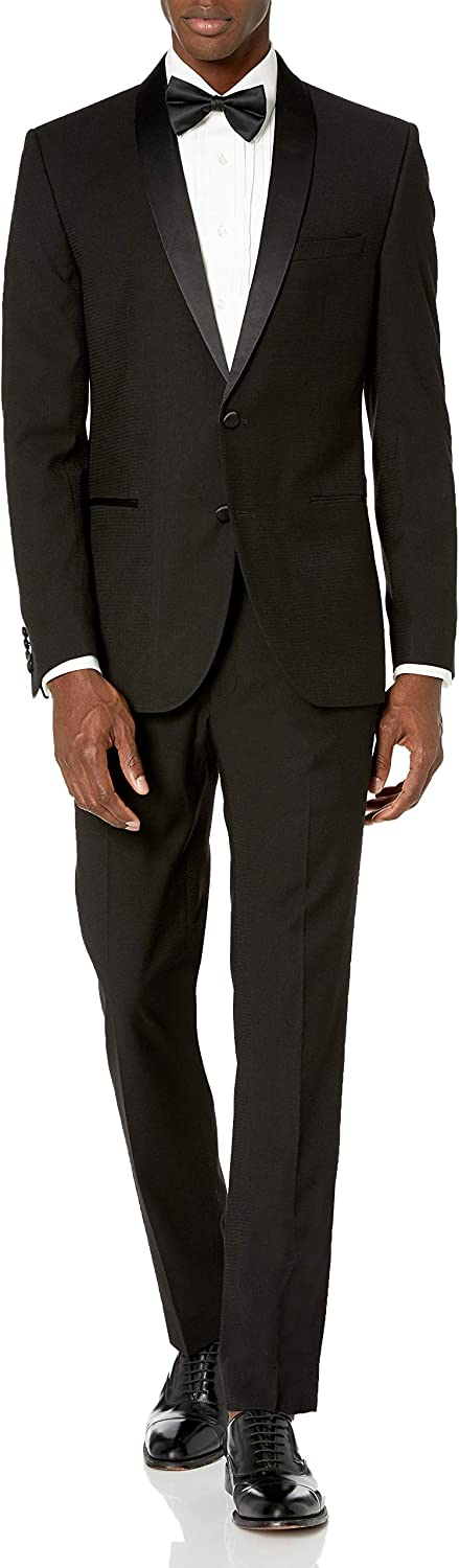 Nick Graham Men's Slim Fit Shawl Lapel Tuxedo, Black Tonal Houndstooth, 38R