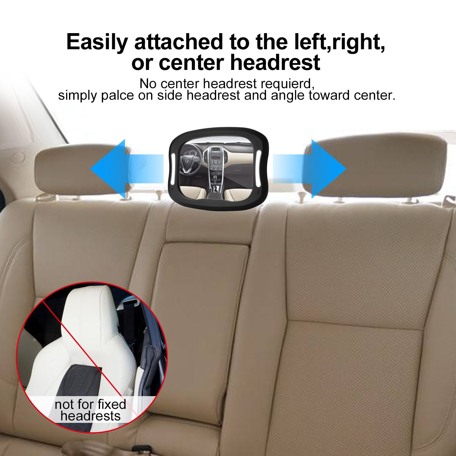 FITNATE LED Baby Car Mirror, Safety Infant in Backseat 360°Adjustable Light Up Mirror for Baby Rear with Best Newborn Secure 4 Sturdy Strips,Remote Control and 2 Car Sun Visors by FITNATE