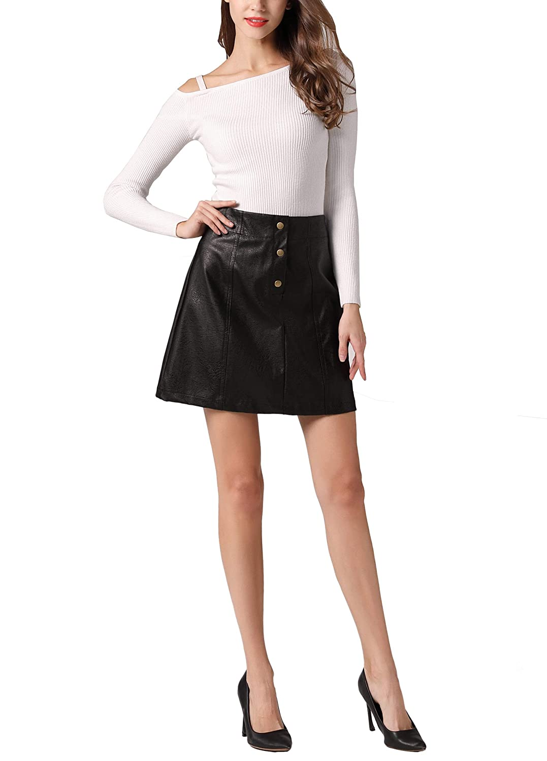 Black77 GUANYY Women's Faux Leather Vintage High Waist Classic Slim Mini Pencil Skirt