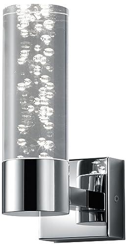 Trio Leuchten LED Bathroom Wall Light, Chrome with Clear Acrylic ...