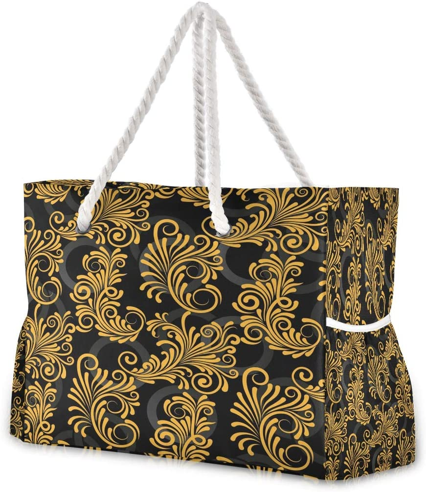 Endless Abstract Golden Lines Beach Tote Pool Bags for Women Large Gym Tote Weekender Travel