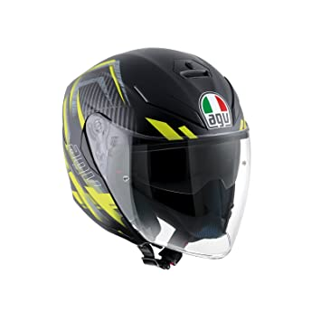 AGV Casco Moto K-5 Jet E2205 Multi, Urban Hunter Matt Black/Yellow