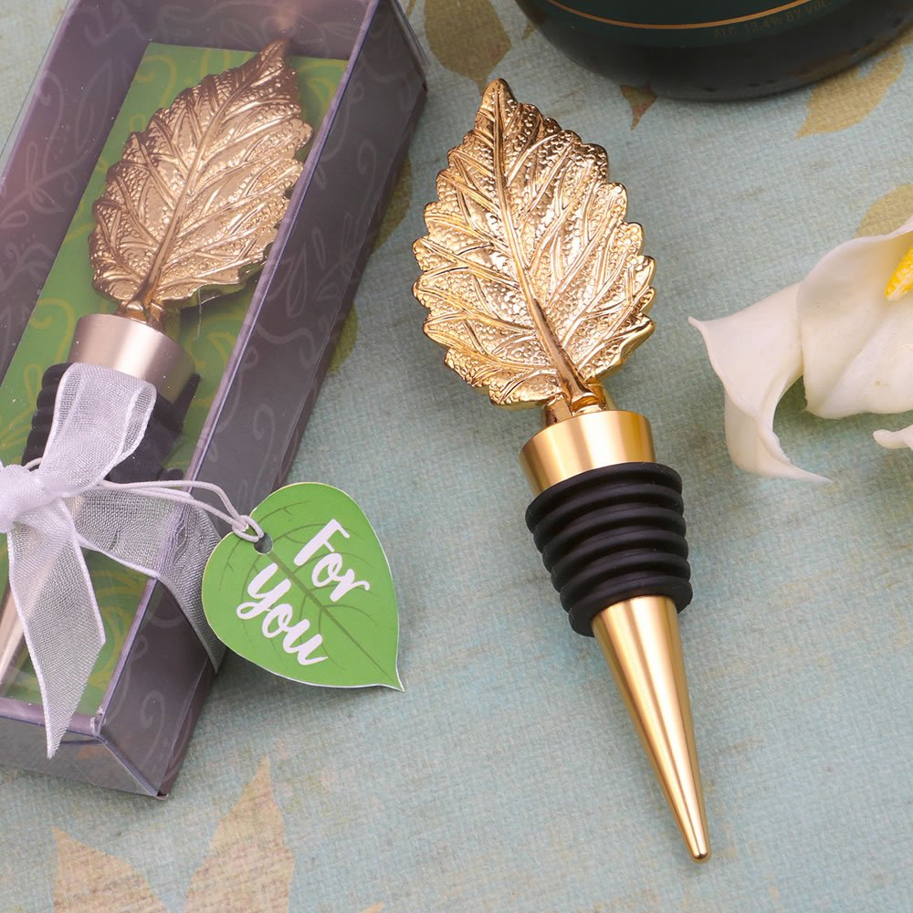 Gold Metal Leaf Wine Bottle Stopper - Autumn Fall Wedding Favor (50)