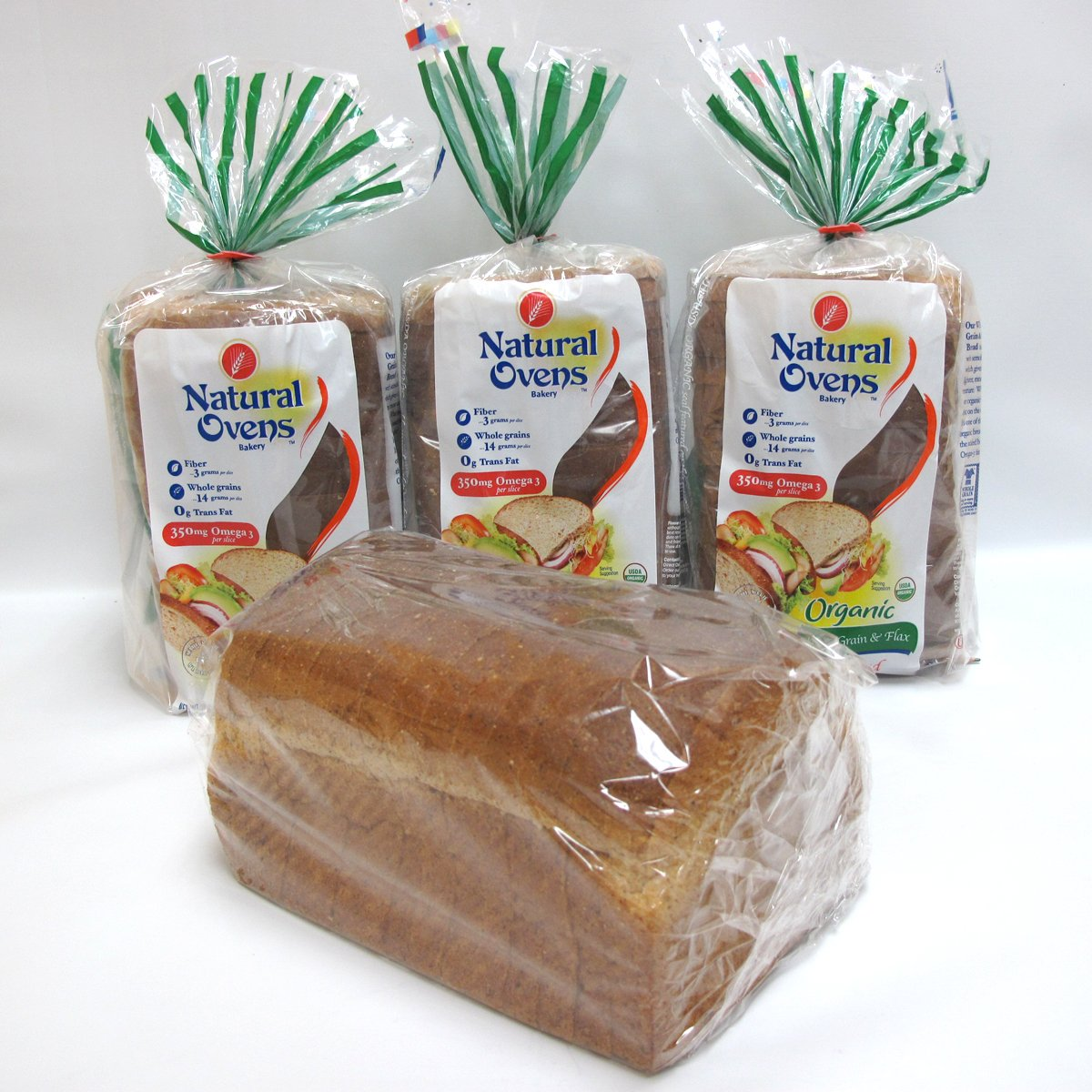 Natural Ovens Organic Whole Grain & Flax Bread (Pack of 4)