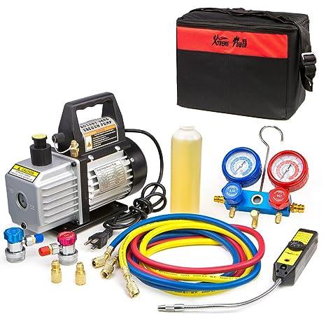 XtremepowerUS aire bomba de vacío aire acondicionado A/C Refrigeración Kit Colector de AC Gauge