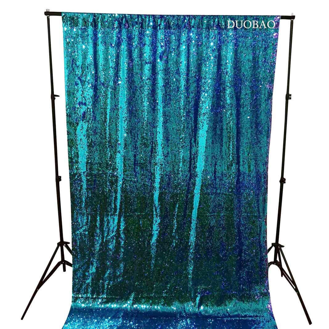 DUOBAO Sequin Backdrop 20FTx10FT Turquoise to Lavender Wedding Pics Backdrop Mermaid Reversible Sequin Photo Backdrop Baby Shower Curtains by DUOBAO (Image #4)