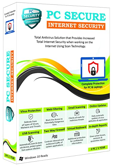 PC Secure Antivirus, 2 User Pack for One Year, Antivirus for Laptop, Anti  Virus for Desktop
