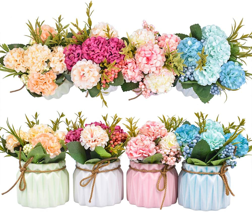 XONOR Artificial Flower Plants – Mini Fake Hydrangea Flowers in Pot for Home Decor Party Wedding Office Patio Table Desk Decoration (Set of 4)