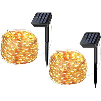 MTZRFLL [2 Pack] 10M/33Ft 100LEDs 8 Modes Solar String Lights, Indoor/Outdoor IP65 Waterproof Starry Fairy Lights for Christmas, Gate, Holiday, Wedding, Halloween, Party, Decoration (Warm White) : Garden & Outdoor