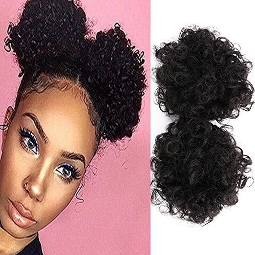 c42e537238f Amazon.com   Miss Rola Donut Bun Afro Kinky Curly Kanekalon Synthetic Hair  Short Ponytail Clip In Hair Extensions Natural Black Color Scrunchie  Hairpieces(2 ...