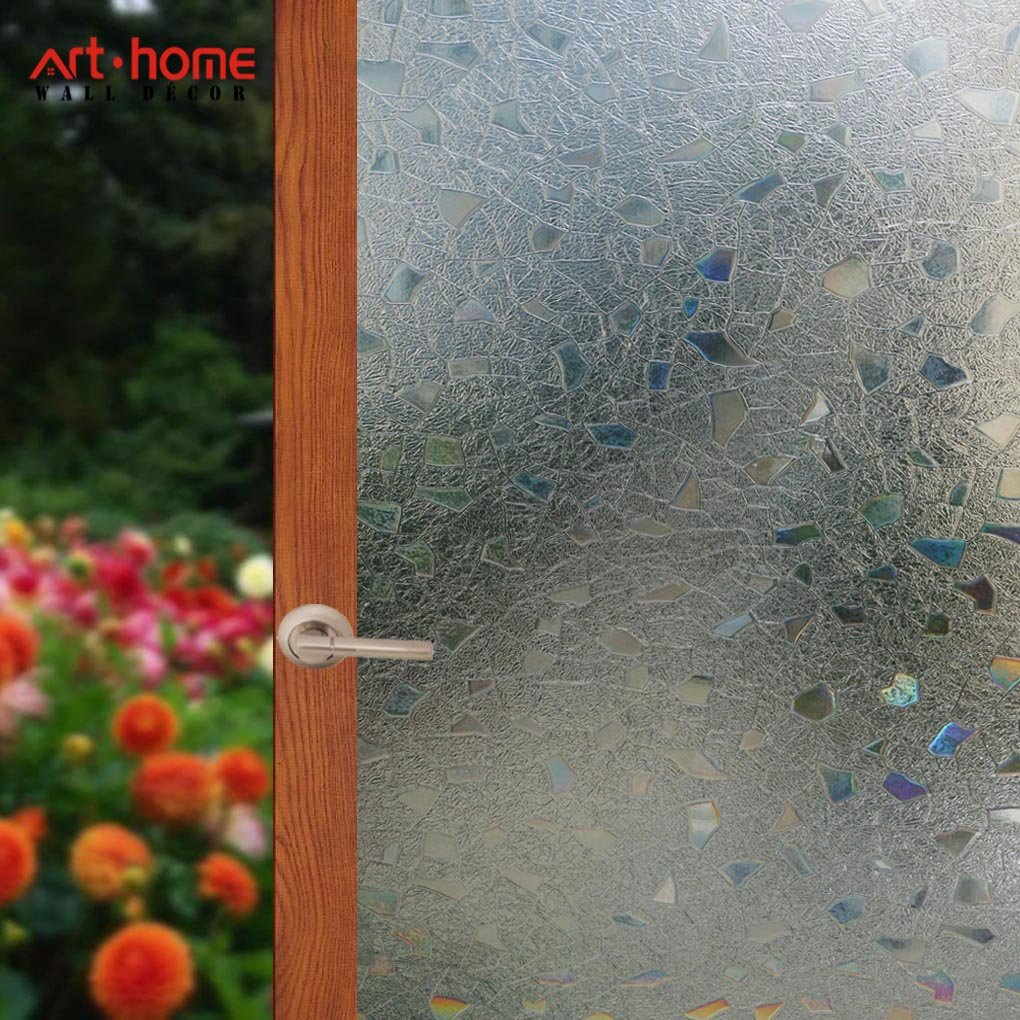 Arthome 35.4 x 100 inch Frosted Decorative Privacy Window Films No Glue Non-Adhesive Self Static Cling Anti UV Removable for Home Living Room Bedroom Bathroom Kitchen Office (90 x 254 CM, AH004)