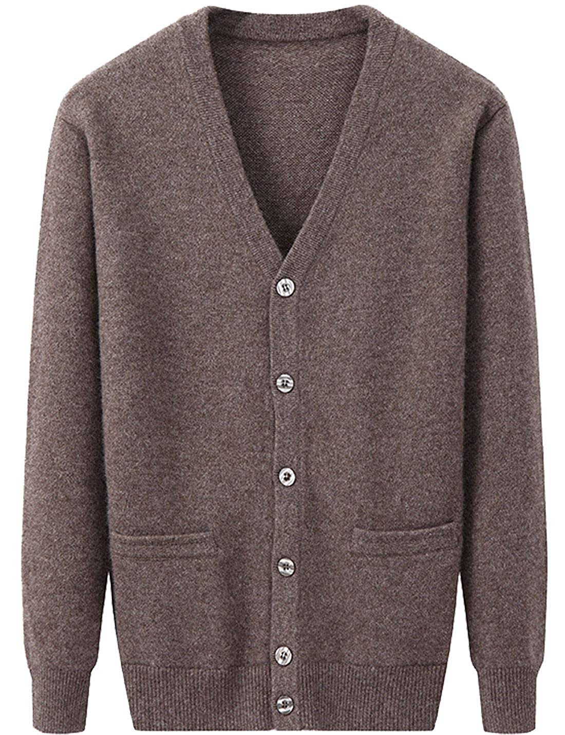 Flygo Mens V Neck 100/% Cashmere Cardigan Sweater