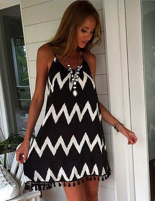 Fenido Women Fashion Dress Stripes Causal Loose Chiffon Sling Dress Dresses Black
