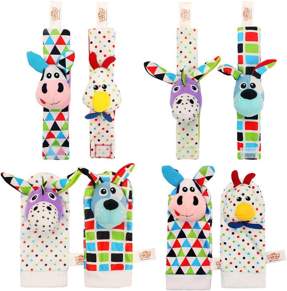 Amazemarket Lovely 2pcs//pair Baby Infant Newborn Toy Wrist Rattle Cloth Soft Socks Foot Finder Colorful 3D Animals feet Sock kids Gift Bell Development No original packaging, Cow + chicken wrist bell
