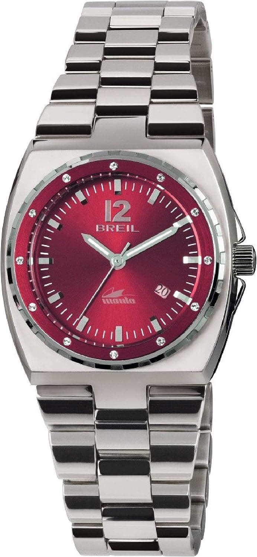 Reloj BREIL Mujer Manta Sport Esfera Rojo e Correa in Acero, Movimiento Solo Tiempo - 3H Cuarzo