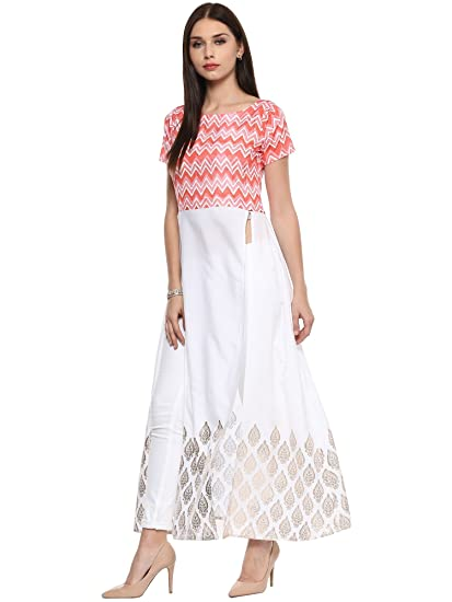 b9df1aa5b650c AHALYAA Women s Crepe Kurti (White)  Amazon.in  Clothing   Accessories