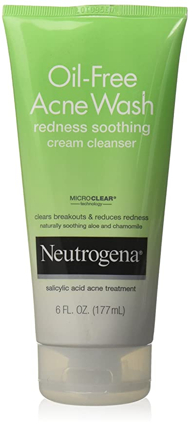 Neutrogena Oil-Free Acne Wash Redness Soothing Cream Cleanser, 6 Ounce