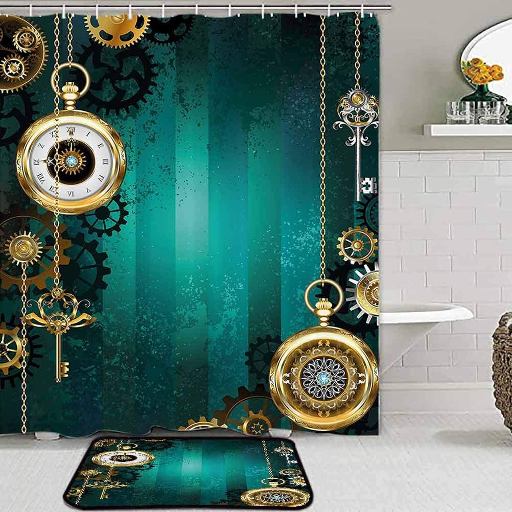 Industrial bathroom accessories sets complete with shower curtain and rug Antique Items Watches Keys and Chains with Steampunk Influences Illustration office chair mat for carpet Multicolor