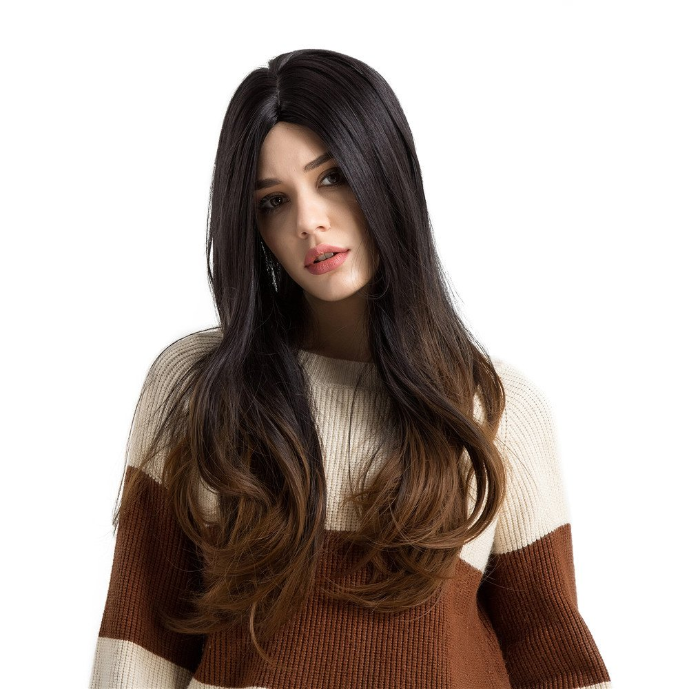 Becoler Long Black/Brown Natural Low Temperature Synthetic Wigs Hair For Women Party Heat Resistant Synthetic Full Wig Cosplay Wigs Becoler Wigs