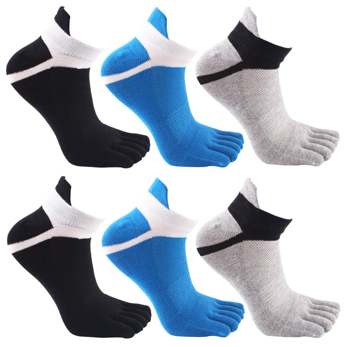 Mens Breathable Comfortable Toe Socks 6 Pairs Running Five Finger socks No Show Crew Socks for Men and women