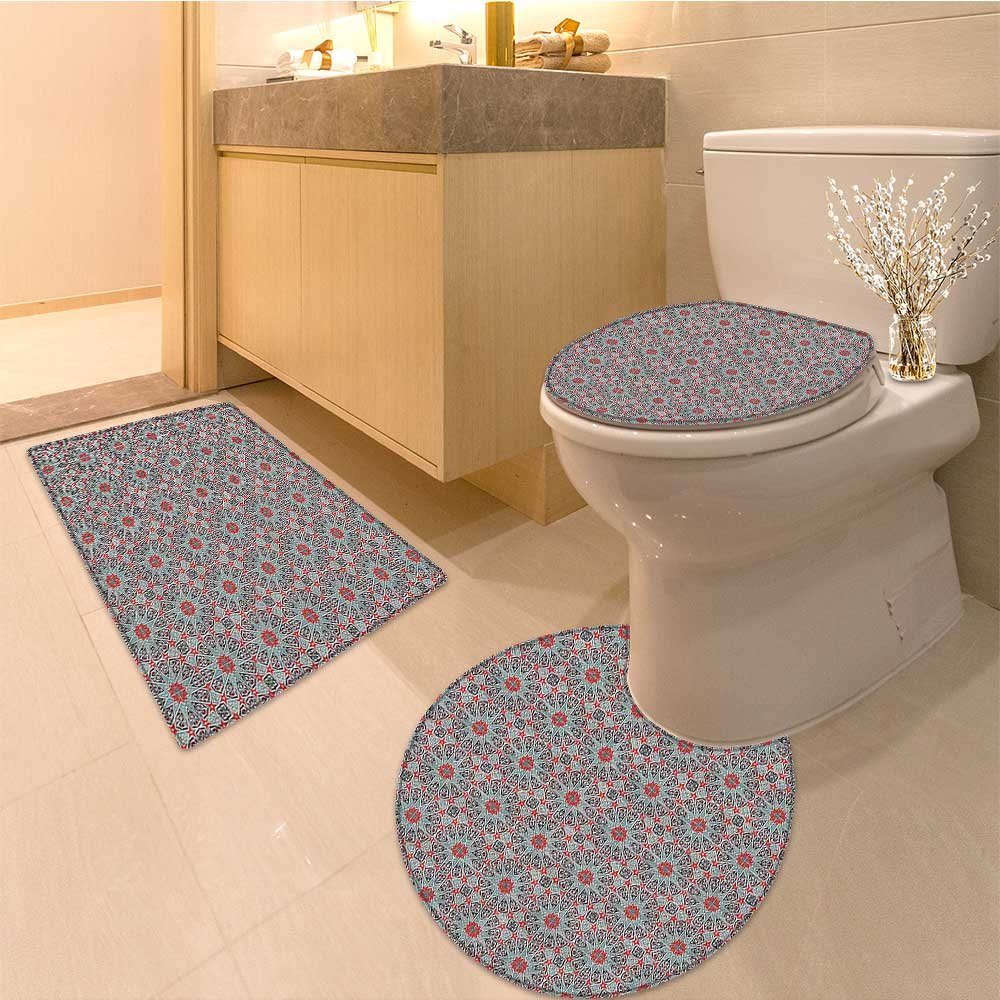 3 Piece large Contour Mat set Collection Collection of Style Patterns Flora Ornamenta Patchwork Print Fabric with Bathroom Rugs Contour Mat Lid Toilet Cover