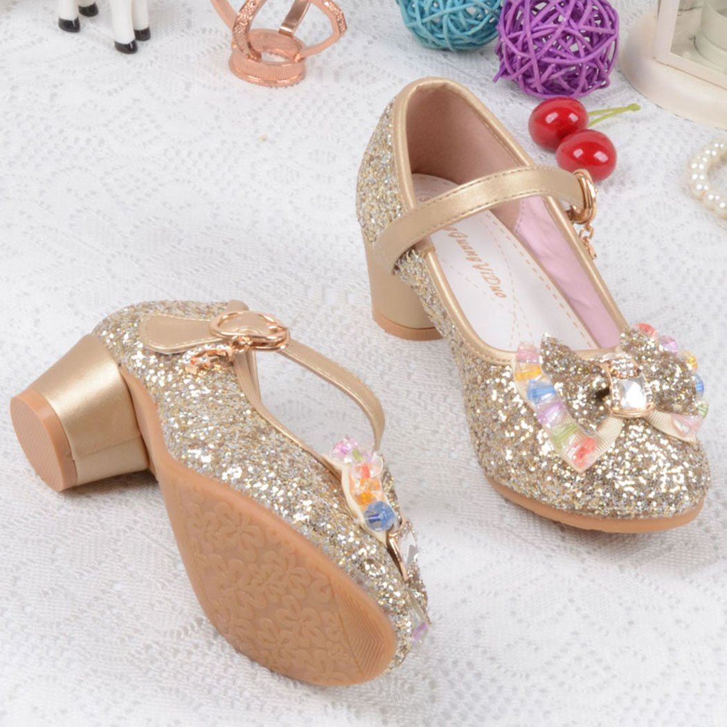 Raylans Girls Glitter Sandals Mary Jane Shoes Glitter Low Heels Princess Cosplay Dress Shoes Golden US 13.5M by Raylans (Image #2)
