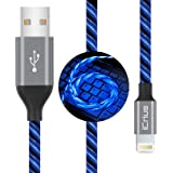 iCrius iPhone Charger Cable, MFi Certified 6ft LED Light Up Visible Flowing Lightning Charger Charging Cord Compatible…
