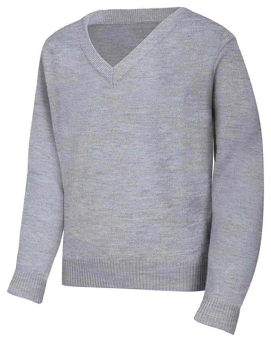 Youth Unisex Long Sleeve V-Neck Sweater (Heather Grey; X-Large) 56702